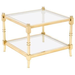 Vintage Maison Raphael Brass & Glass Side Table For Sale