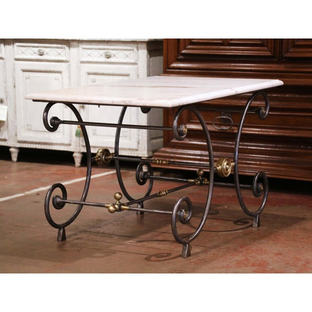 19th Century French Polished Iron and Bronze Pastry Table With Marble Top For Sale - Image 9 of 13