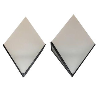 1940s French Art Deco Iron / Frosted Glass Sconces - a Pair For Sale