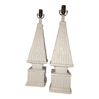 Vintage Ceramic Bamboo Obelisk Table Lamps - A Pair For Sale