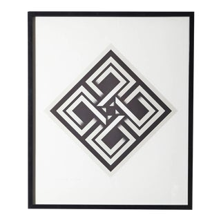 Omar Rayo, Geometric Abstract Black and White Lithograph, Titled, Xaphan For Sale