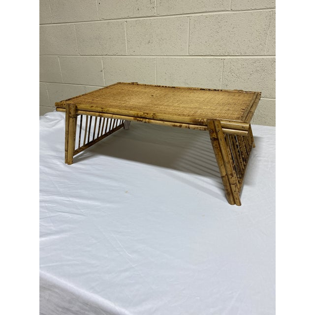 """Hollywood Regency Vintage Burnt Bamboo """"Breakfast"""" Tray Stand For Sale - Image 3 of 12"""