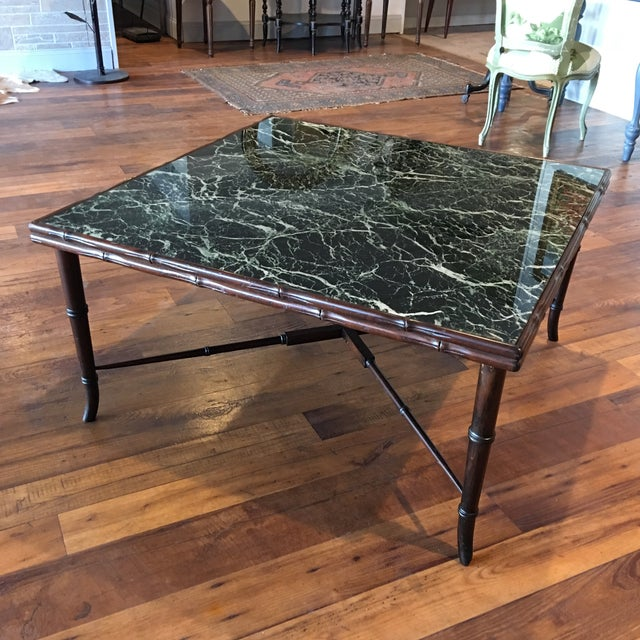 Mid-Century Regency Faux Bamboo Marbled Table - Image 2 of 8