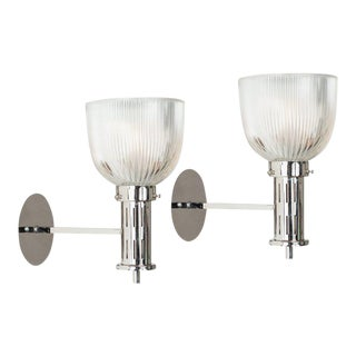 1960s Sergio Mazza for Artemide Glass & Nickel Sconces - A Pair