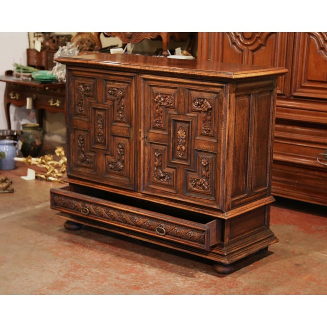 Mid 19th Century 19th Century Italian Carved Walnut Two-Door Buffet Cabinet With Bottom Drawer For Sale - Image 5 of 13