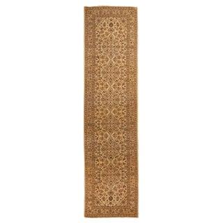 Vintage Kashan Persian Beige and Lavender Wool Runner Rug - 3′3″ × 12′9″ For Sale