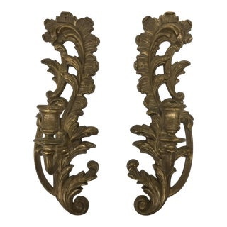 Rococo Plastic Gold Leaf Sconces - A Pair For Sale
