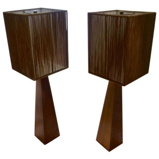 Robert Sonneman Walnut Obelisk Table Lamps - Pair