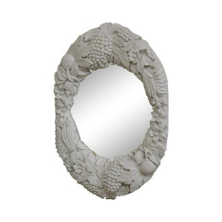 Gargoyles Studio Carved Fruit and Leaves White Lacquered Wall Mirror For Sale