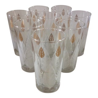 Libbey Feather Leaf White and Gold 12 Ounce Beverage Glasses - Set of 8 in Original Box For Sale