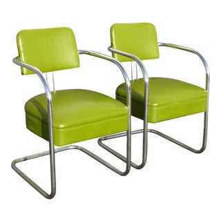 1950s Vintage Mid-Century Modern Lime Green Chrome Accent Chairs - A Pair