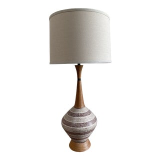 Mid-Century Modern Ceramic and Wood Striped Lamp For Sale