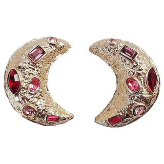 Guy Laroche Rhinestone Half Moon Earrings For Sale