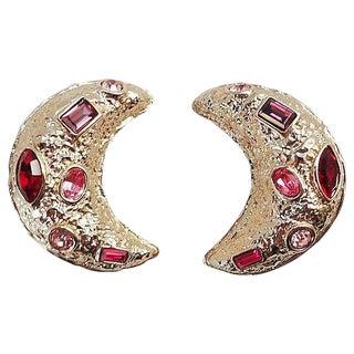Guy Laroche Rhinestone Half Moon Earrings For Sale