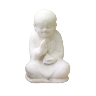 Chinese Oriental White Marble Stone Carved Monk Lohon Figure For Sale
