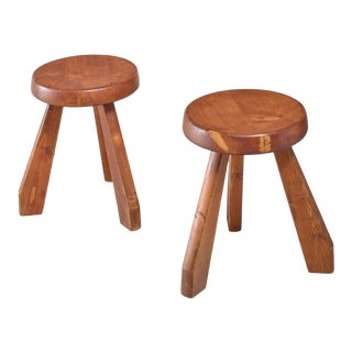Charlotte Perriand Pair of Les Arcs Stools, France, 1960s For Sale