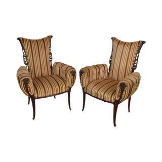 Grosfield House 1940's Hollywood Regency Carved Mahogany Pair Fireside Chairs For Sale