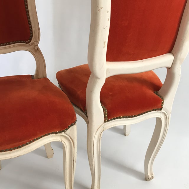 Vintage Upholstered Side Chairs A Pair Image 5 Of 11