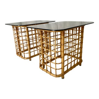 Pencil Reed Rattan Side Tables With Smoked Glass Tops- a Pair For Sale
