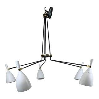 1960s Mid Century Modern 5 Light Spider Light For Sale