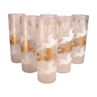 Mid-Century Prancing Horse Tumblers - Set of 6