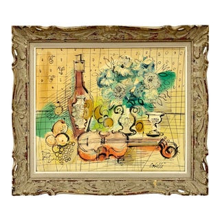 Original Signed Charles Cobelle French Still Life Painting Mid Century For Sale