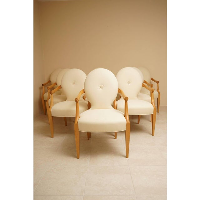 "John Hutton for Donghia 1980 ""Casper"" Maple Wood Dining Chairs - Set of 8 - Image 4 of 9"