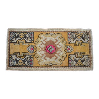 Distressed Low Pile Turkish Yastik Petite Rug Hand Knotted Faded Mat - 1'6'' X 3' For Sale