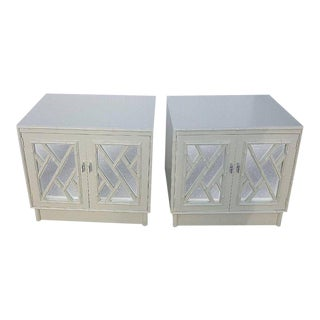 Chippendale Faux Bamboo Lacquer Nightstands - a Pair