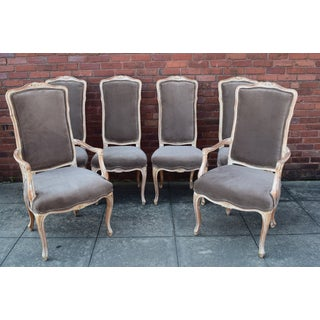 20th Century French Taupe Velvet Dining Chairs - Set of 6 Preview