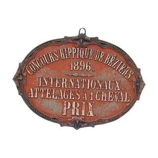 1896 Béziers France Horse Show Award