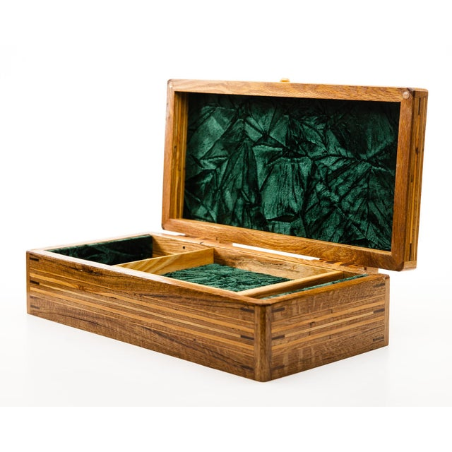 Scandinavian Lawrence & Scott Reclaimed Wood One-Of-A-Kind Lined Jewelry Box For Sale - Image 12 of 12