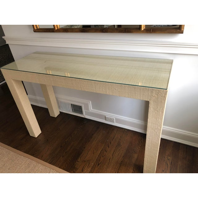 Contemporary Contemporary Grasscloth Wrapped Parsons Console For Sale - Image 3 of 5