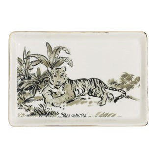 Stoneware Tiger Tray W/ Gold Edge Detail For Sale
