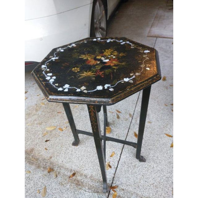Antique Paper Mache Table With Inlay Mother of Pearl For Sale - Image 10 of 10