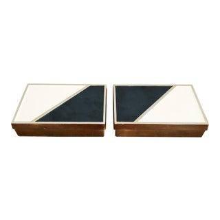 Mid-Century Modern Brass White and Black Enamel Decorative Boxes - a Pair For Sale