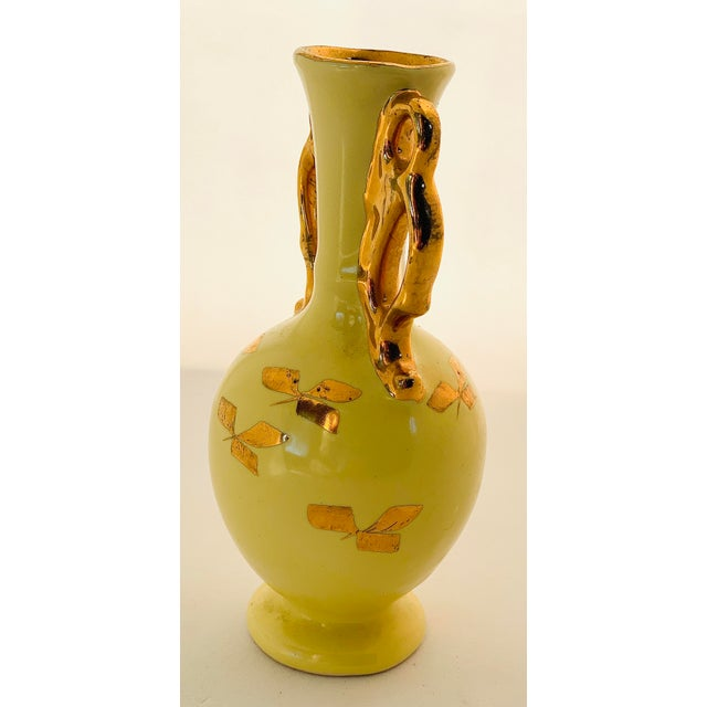 Yellow Vintage Yellow Porcelain Bud Vase With 22 Karat Gold Accents For Sale - Image 8 of 11