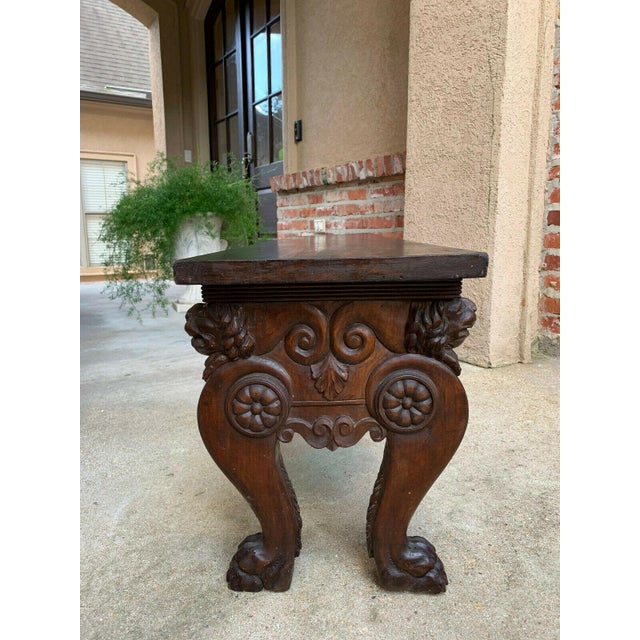 Italian 1900s Antique Italian Carved Walnut Renaissance Revival Bench Ottoman For Sale - Image 3 of 13