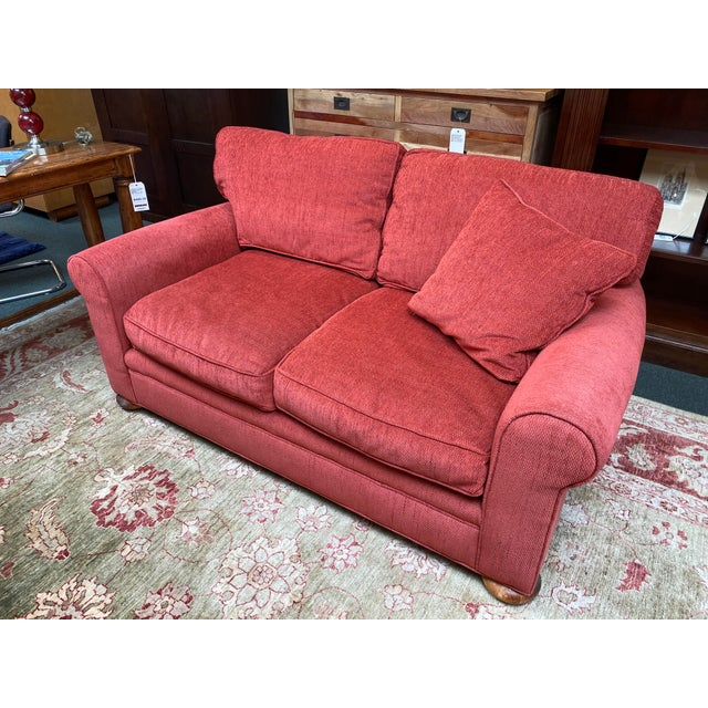 Ruby Red Lee Industries Apartment Sofa For Sale - Image 8 of 10