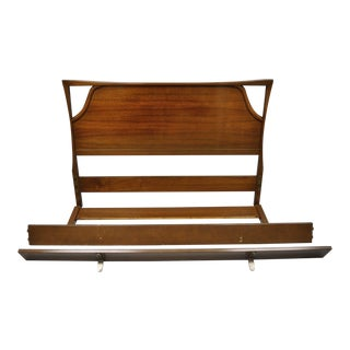 Mid Century Vintage Kagan Style Walnut Full Size Bed Frame For Sale