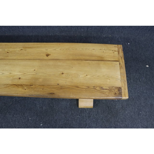 Rustic Country French Style Oak & Pine Bench For Sale - Image 4 of 8