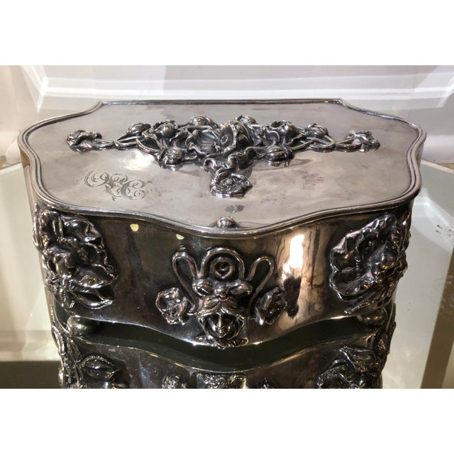 Metal Antique Art Nouveau French Silverplate Jewelry Box W Pink Satin Interior For Sale - Image 7 of 7