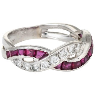 Tiffany & Co. Ruby Diamond Band Ring Vintage Platinum Estate Fine Jewelry For Sale