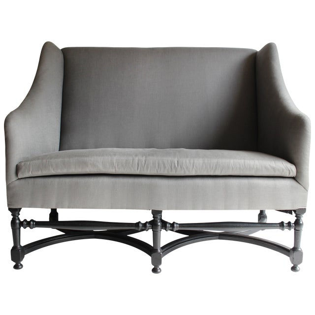 19th Century French Ebonized Settee For Sale