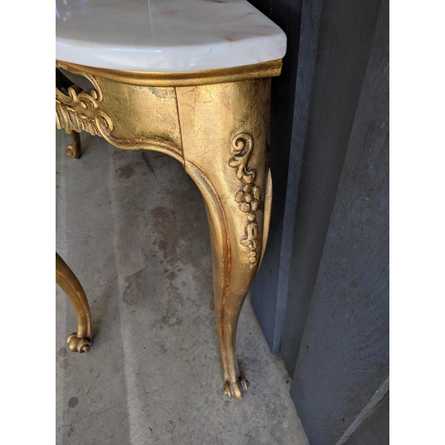Gold 1960s Weiman Marble & Gilt Console For Sale - Image 8 of 12