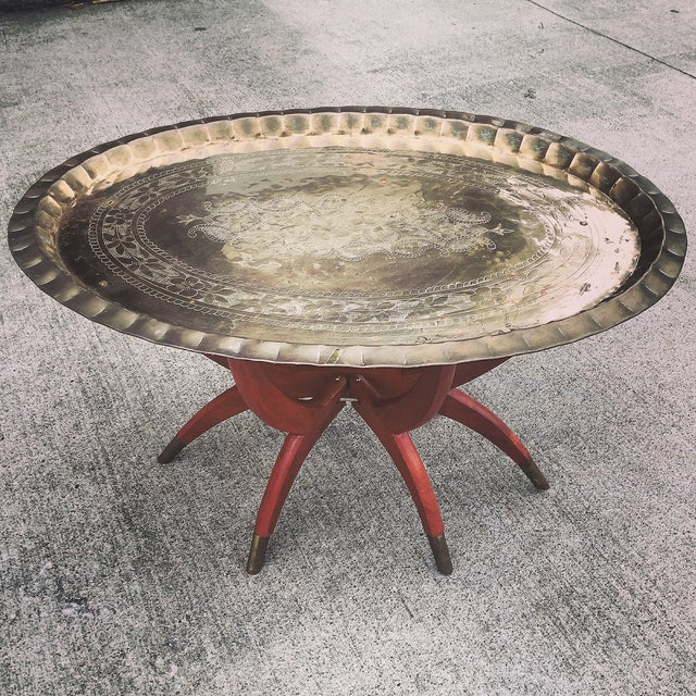Mid Century Brass Serving Tray Table - Image 2 of 5