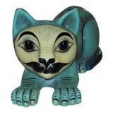 Image of Sergio Bustamante Mexican Modern Folk Art Papier Mache Cat Sculpture With Owls For Sale