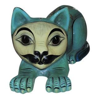 Sergio Bustamante Mexican Modern Folk Art Papier Mache Cat Sculpture With Owls For Sale