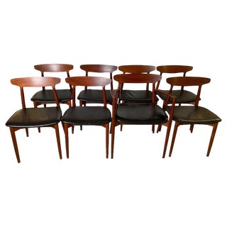 Harry Østergaard Teak and Leather Dining Chairs- Set of 8 For Sale