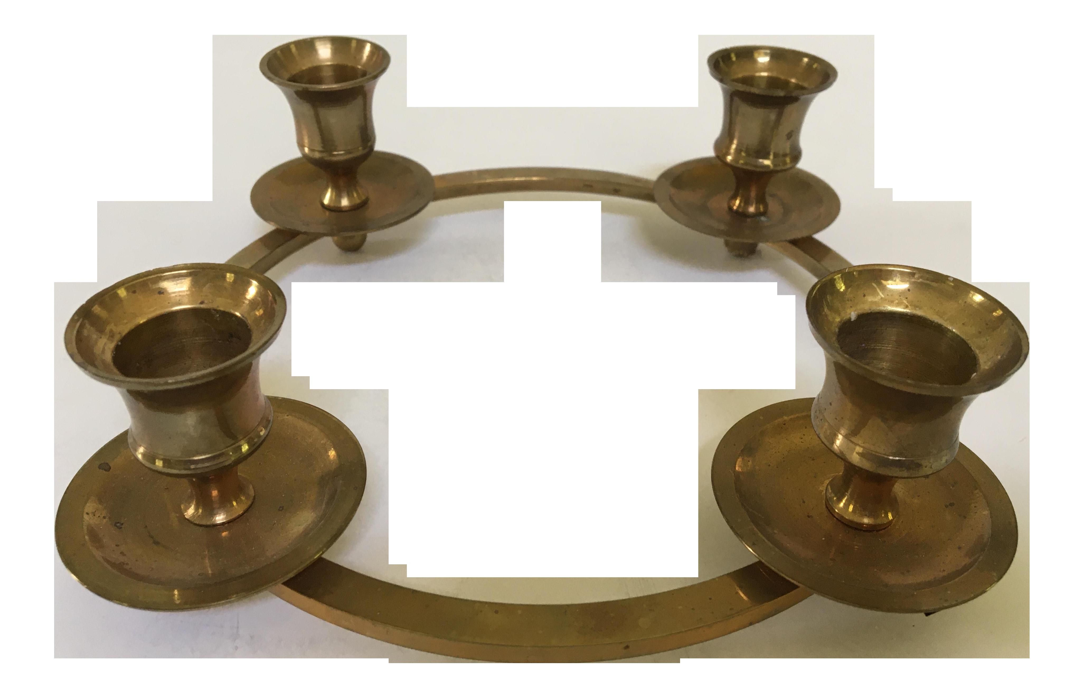 Vintage Circular Solid Brass Centerpiece Four Candle Holder Chairish
